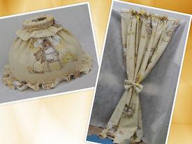 Nursery curtain and nursery lampshade set cream bears on ladders boy, girl, unisex for sale