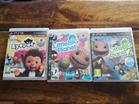 SONY PLAYSTATION 3 PS3 GAMES X 3 - LITTLE BIG PLANET 1 AND 2 AND EYEPET (NO CAMERA)