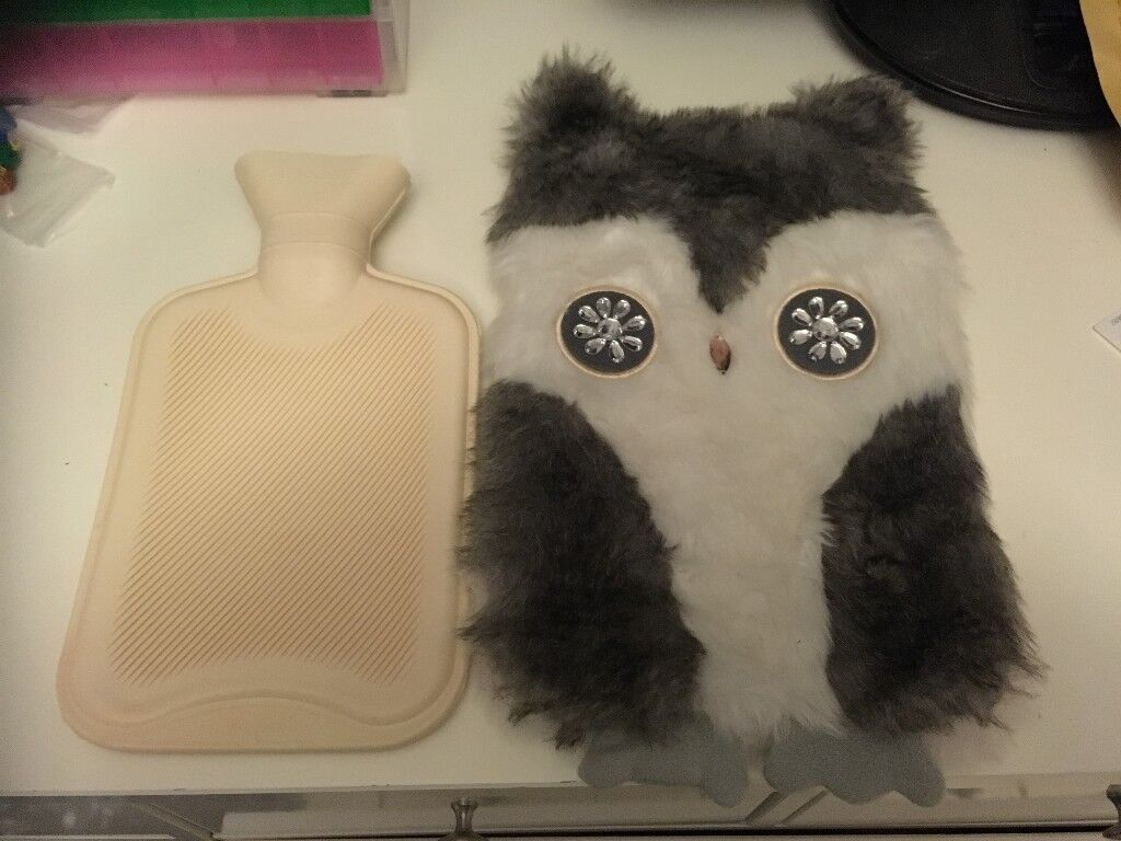 Owl Hot Water Bottle and Cover - Never Used - £5.00