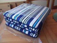 4 x Homebase Garden Chair Seat Pads Blue Stripe