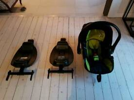 baby car seat and 2 isofix bases