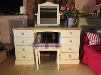 Beautiful Solid Pine Dressing Table, Mirror and Stool. Annie Sloan Old White