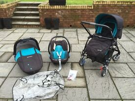Maxi Cosi by Bebe Confort Streety Travel System. Pushchair, car seat, safety carry cot.