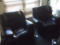 Three Seater Leather Recliner Sofa & Two Leather Recliner Chairs for Sale