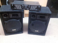 Pa system mobile disco speakers inc 400w amplifier and cables monitor speakers