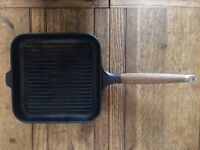 Vintage Morso 7309 Cast Iron Black Grid Griddle Square Pan with Wooden Handle Aga Stove Top