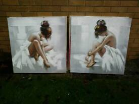 Two oil paintings ballerinas 80 x 80 cm