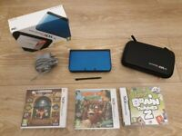 Electric blue Nintendo 3DS XL including accessories and 3 games