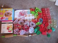 over 62 baking/decorating items- moulds, cutters, stencils -some new