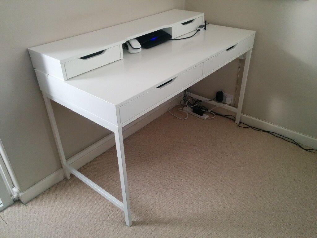 White Ikea Alex Desk And Alex Add On Unit In