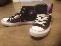 Black/Lavender/Purple/White Converse All Star Double Tongue Size 6 UK