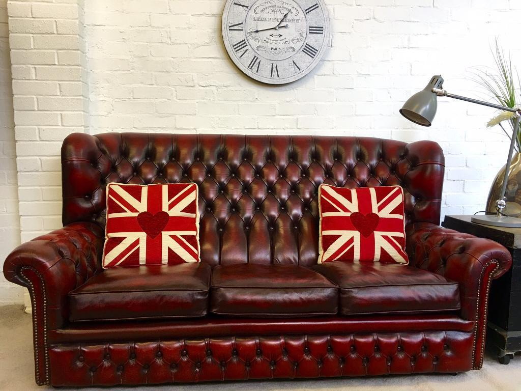 Vintage Oxblood High Back Chesterfield Sofa Can Deliver