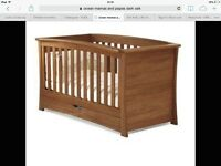 Beautiful mamas and papas solid oak ocean cotbed, wardrobe, chest of drawers/changer and shelf