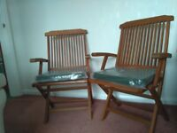 2 New Solid Hardwood Folding Chairs with unopened Seat Cushions