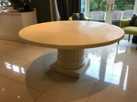 NEW Ivory Cream Artsome COACH HOUSE Collection Designer Large Column Round Dining Table RRP £1,995