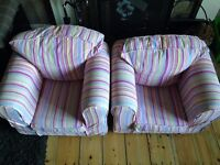2 x Childrens Chairs - Removable Loose Covers - Bargain