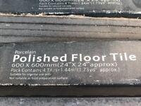 Large polished black porcelain floor tiles