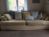 3-4 Seater Sofa yellow/beige with blue cushions