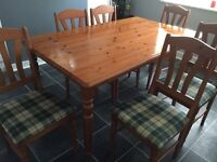 Solid pine table & 6 chairs
