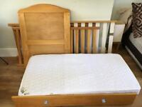 Natural wood cotbed with under bed drawer and mattress