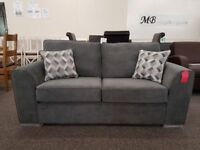 Ex Display 2.5 Seater Dark Grey Fabric Sofa **CAN DELIVER**