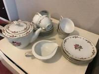 Tea set / service - cups and saucers including tea pot and side plates