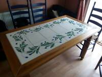 Mediterranean solid pine and olive tiled retangular dining table and chairs