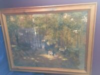 Beautiful Woodland Scene with Deer Picture in Antique Pine Frame