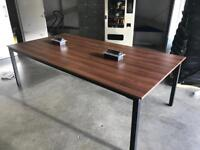 Large 10-12 seat (2.4m x 1.2m) walnut conference office table. Media connections