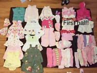 Newborn to 3 month huge bundle of girls clothes!