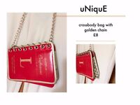 Unique bag crossbody bag with golden chain