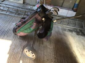 Half Set Ladies or Junior Golf Clubs with Bag and trolley