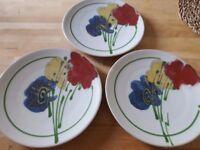 Set of 3 nos handpainted stoneware dinner plates 27cm