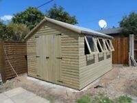12X10 GARDEN SHED/WORKSHOP OTHER SIZES AVAILABLE, LOGLAP T&G FREE FITTING