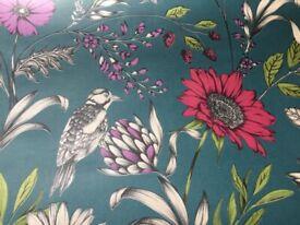 Teal patterned wallpaper