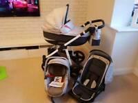 3in1 travel system pushchair, car seat, gondola, buggy, changing bag