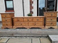 Excellent condition Schreiber bedsude cabinets and chest of drawers.