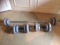 Bar, dumbells and weights