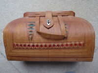 Vintage Tooled Brown Bag With Inside Pocket Brown With Green And Red Inlays