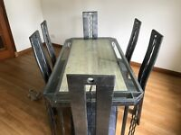 Designer Hand Made Dining Table, 6 Chairs and Sideboard