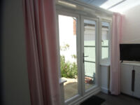 1 x PAIR BEAUTIFUL POWDER PINK VELVET CURTAINS - MADE TO MEASURE - (AS NEW )