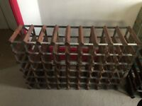 63 Bottle traditional wooden wine rack (dark wood) - good condition