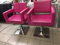Used PINK salon Chairs, great condition, selling both, adjustable chairs.