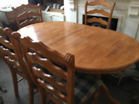 Table and chairs -6 Seater solid wood dining table extendable