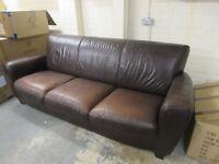 Brown leather 3 seat sofa