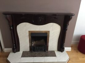"Fireplace complete with hearth and 16""fire basket"