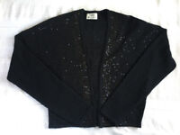 Next black with sequins long sleeve cardigan. Size 14. Ideal cover-up at a party, etc. £3 ovno.
