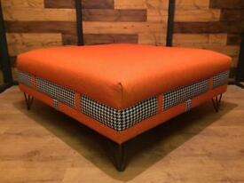 Mid Century Inspired Retro Footstool Pouffe