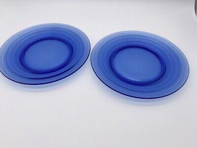 2 VTG Hazel Atlas Cobalt Blue Glass Moderntone Depression 8