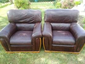 Pair of genuine leather armchairs